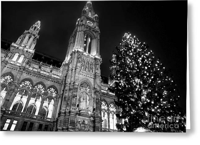 Christmas Market Greeting Cards - Rathaus Christmas Tree Greeting Card by John Rizzuto