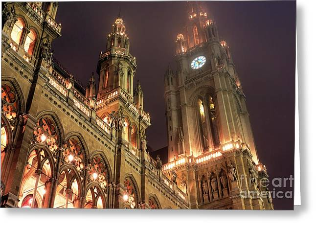 Christmas Market Greeting Cards - Rathaus Time Greeting Card by John Rizzuto