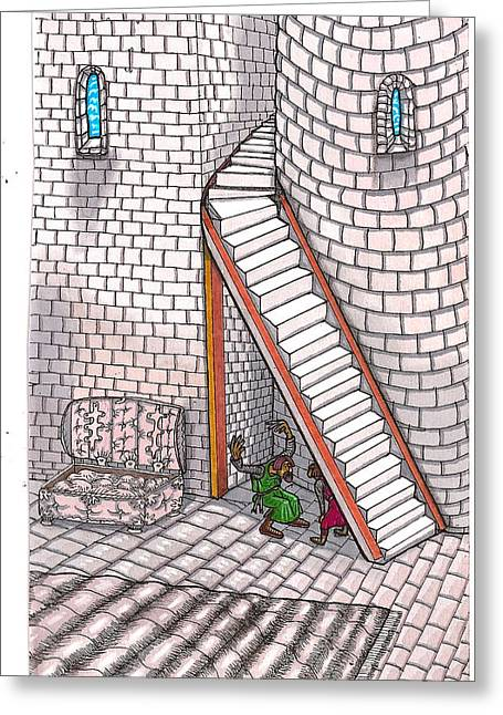 Stepping Stones Drawings Greeting Cards - Rathbone Tells All Greeting Card by Al Goldfarb