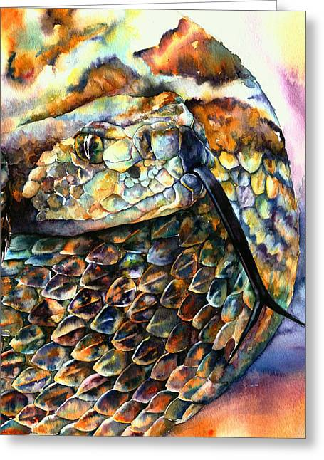 Rattle Greeting Cards - Rattle Snake Greeting Card by Christy  Freeman