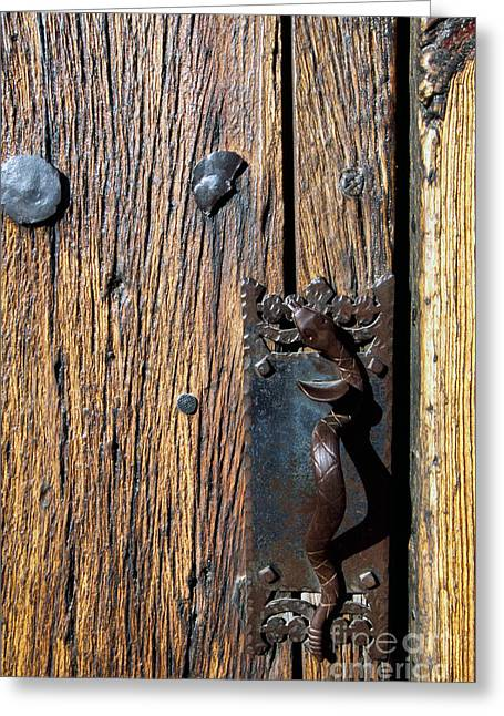 Rattlesnake Door Handle Mission San Xavier Del Bac Greeting Card by Thomas R Fletcher