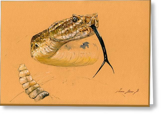 Rattlesnake Painting Greeting Card by Juan  Bosco