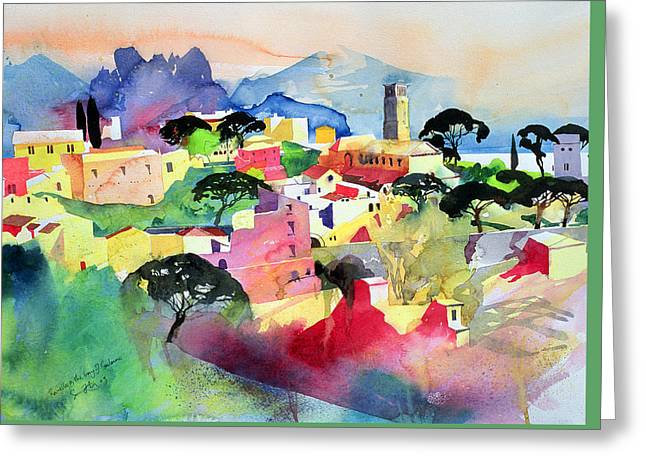 Pink And Green Hues Greeting Cards - Ravello and the Bay of Salerno Greeting Card by Simon Fletcher
