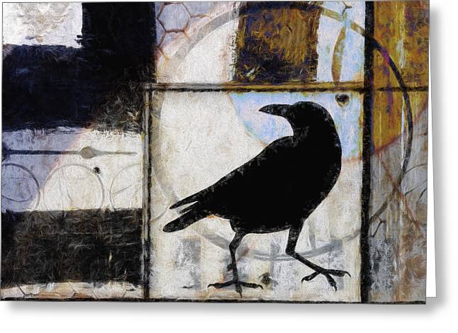 Ahead Greeting Cards - Raven Ahead of Time Greeting Card by Carol Leigh