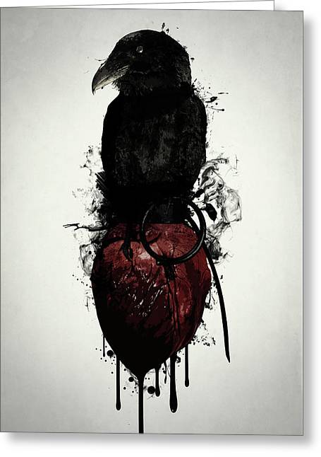 Raven And Heart Grenade Greeting Card by Nicklas Gustafsson