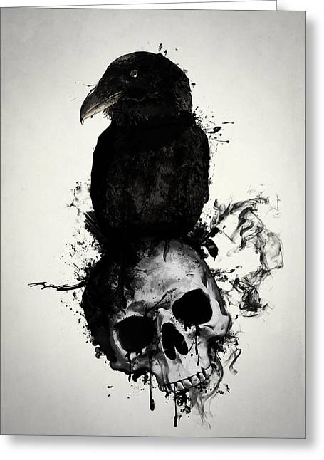 Raven And Skull Greeting Card by Nicklas Gustafsson