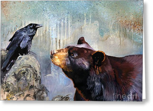 Spirit Guide Greeting Cards - Raven and the Bear Greeting Card by J W Baker