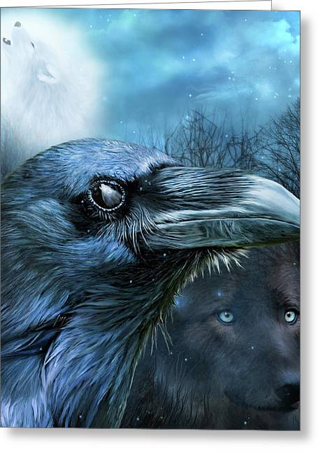 Raven And Wolf - In The Moonlight Greeting Card by Carol Cavalaris