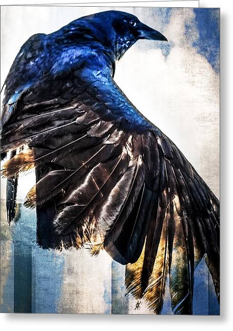 Raven Attitude Greeting Card by Carolyn Marshall