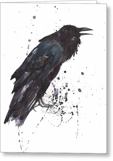 Raven Greeting Cards - Raven  black bird gothic art Greeting Card by Alison Fennell