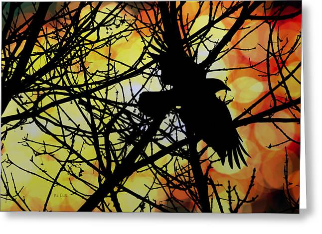 Mystic Art Greeting Cards - Raven Greeting Card by Bob Orsillo