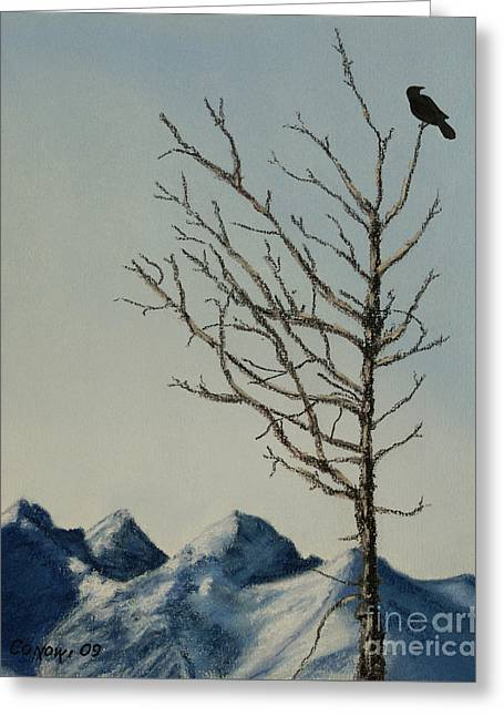 Raven Pastels Greeting Cards - Raven Brought Light Greeting Card by Stanza Widen