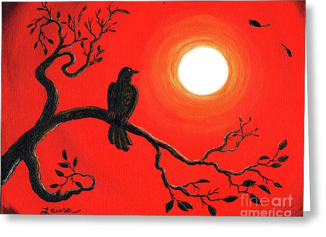 Gothic Crows Greeting Cards - Raven in Red Greeting Card by Laura Iverson