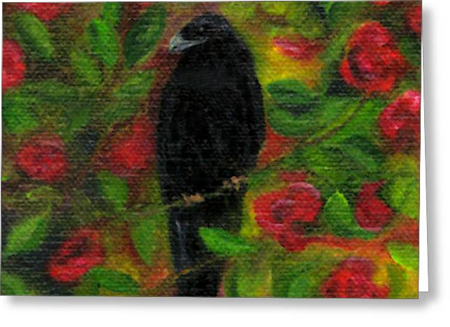 Raven In Roses Greeting Card by FT McKinstry