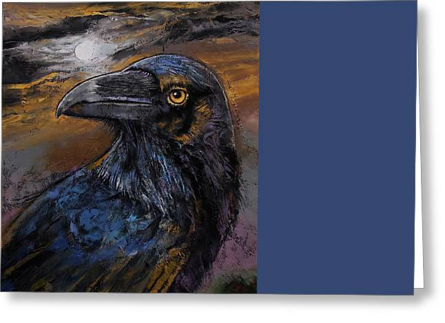 Dark Art Greeting Cards - Raven Greeting Card by Michael Creese