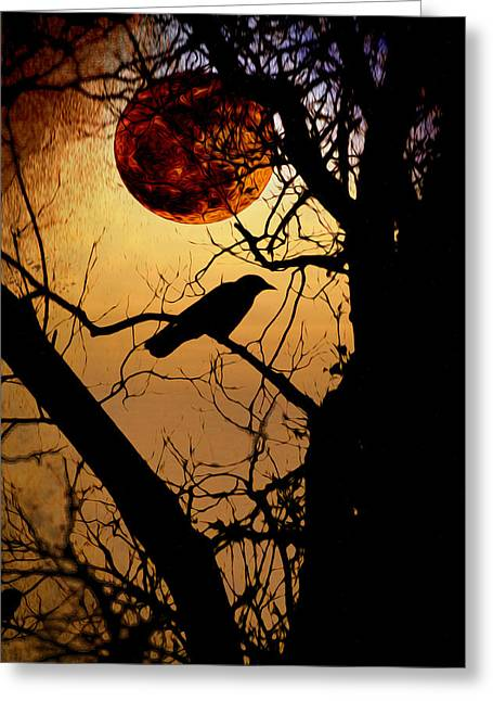 Luna Digital Greeting Cards - Raven Moon Greeting Card by Bill Cannon