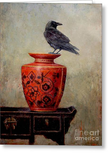 Raven On Red  Greeting Card by Lori  McNee