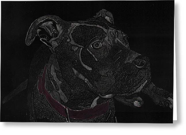 Puppies Mixed Media Greeting Cards - Raven Pit bull pup Greeting Card by Betty Miller