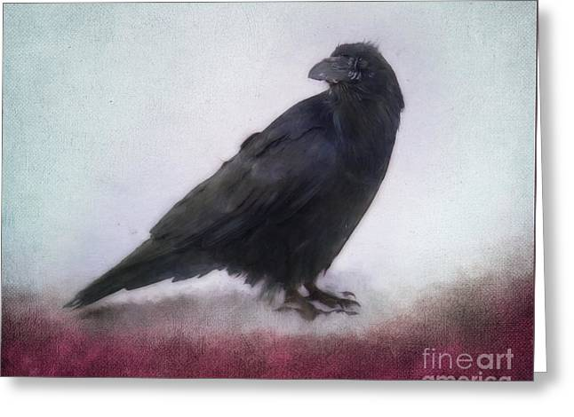 Raven Greeting Card by Priska Wettstein