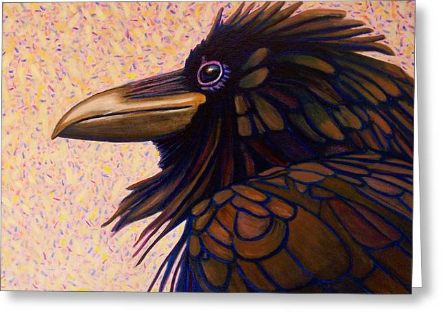 Raven Greeting Cards - Raven Shaman Greeting Card by Brian  Commerford