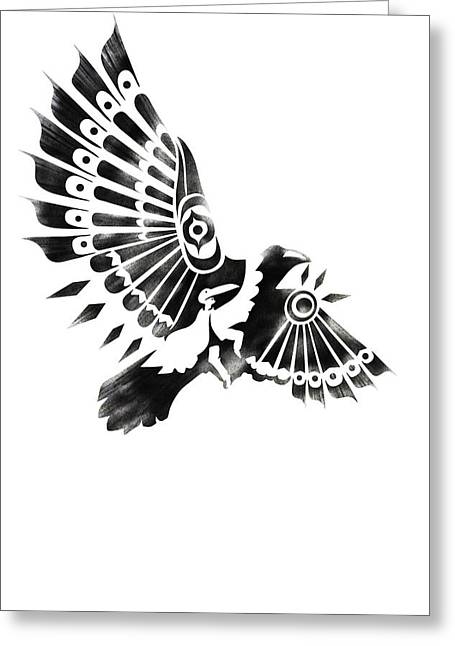 Spiritual Animal Greeting Cards - Raven Shaman tribal black and white design Greeting Card by Sassan Filsoof