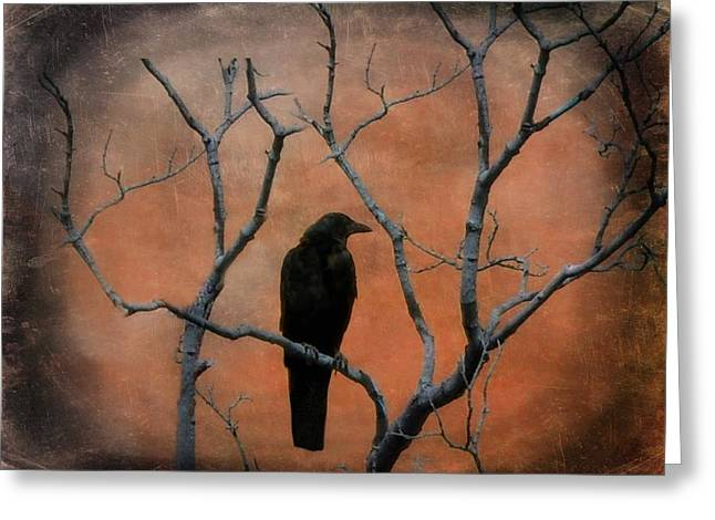 Crow Image Greeting Cards - Raven Tree Greeting Card by Gothicolors Donna Snyder