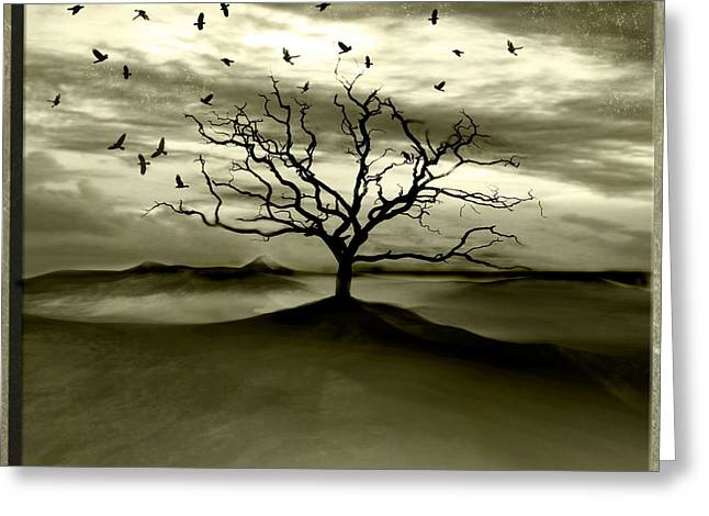 Surreal Landscape Digital Art Greeting Cards - Raven Valley Greeting Card by Photodream Art