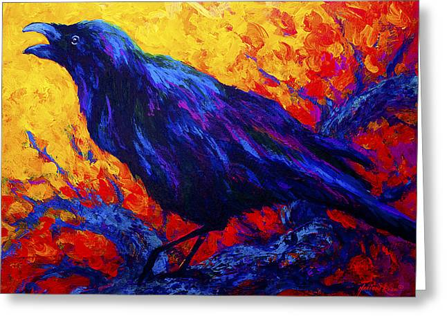 Crow Greeting Cards - Ravens Echo Greeting Card by Marion Rose