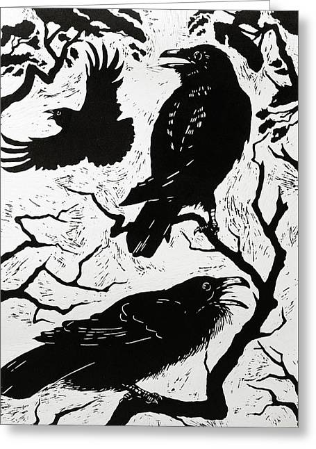 Ravens Greeting Card by Nat Morley