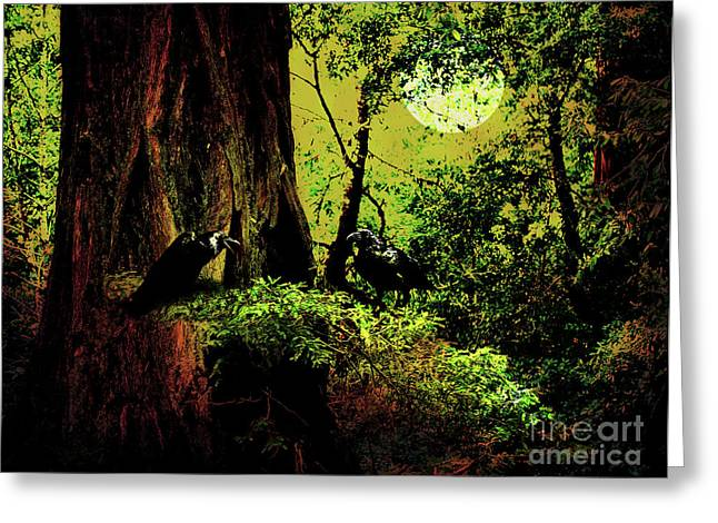 Mossy Trees Greeting Cards - Ravens of The Full Moon Night . 7D5443 Greeting Card by Wingsdomain Art and Photography
