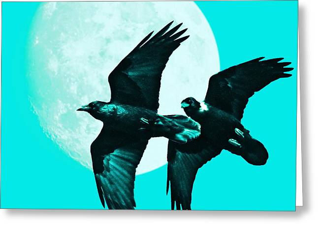 Ravens of the Moon . Cyan Square Greeting Card by Wingsdomain Art and Photography