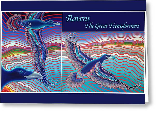 Raven Drawings Greeting Cards - Ravens - The Great Transformers Greeting Card by Karie Seven Eagles Garnier