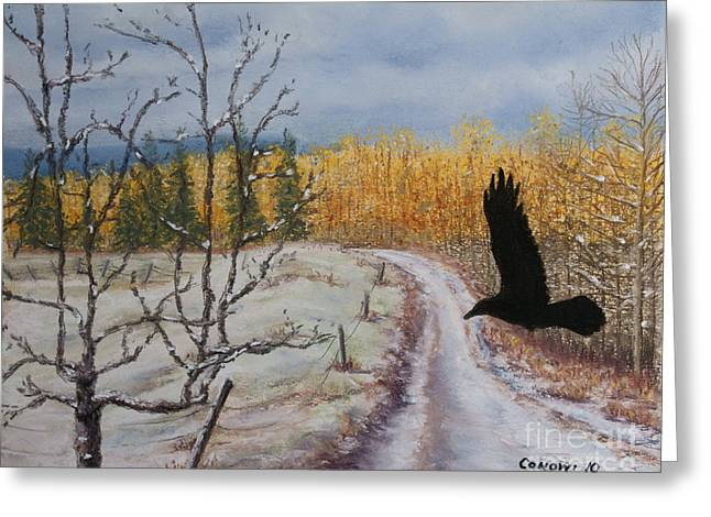 Crows Greeting Cards Greeting Cards - Ravens Thoughts Turned Greeting Card by Stanza Widen