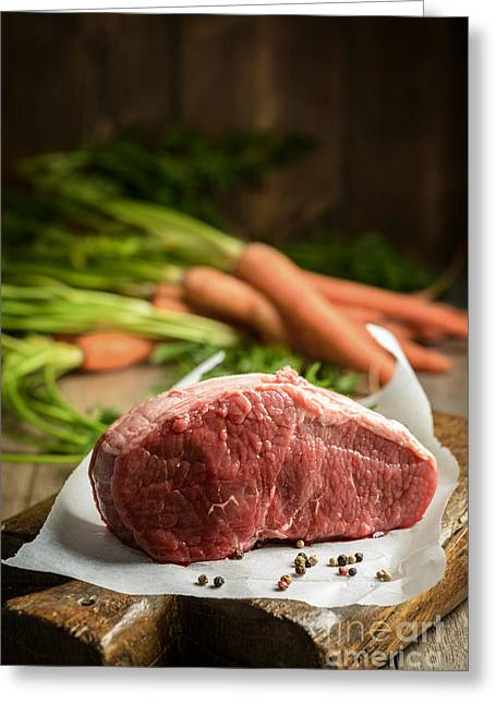 Peppercorns Greeting Cards - Raw Beef With Carrots Greeting Card by Amanda And Christopher Elwell