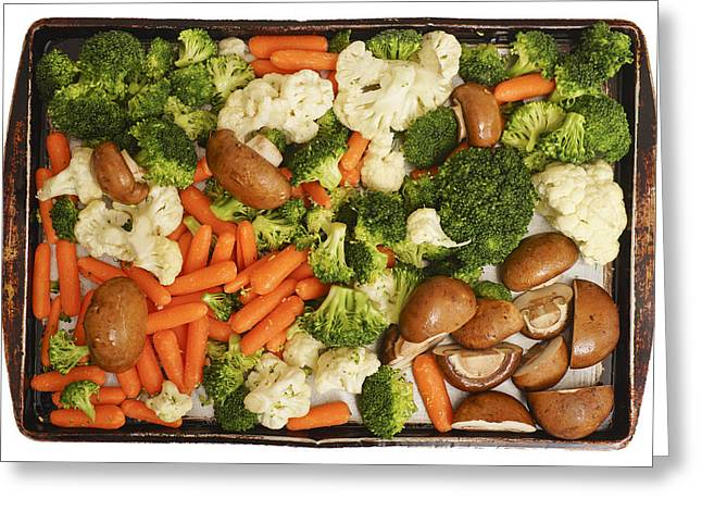 Broccoli Greeting Cards - Raw Vegetables in Tray Ready for Baking Greeting Card by Donald  Erickson