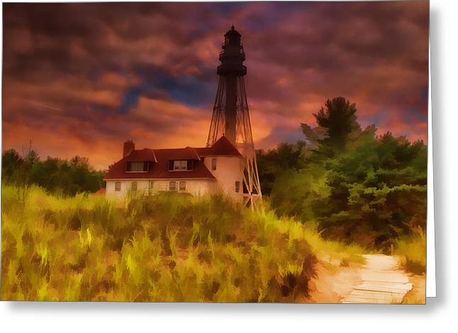 Us Coast Guard Greeting Cards - Rawley Point Lighthouse Greeting Card by Joel Witmeyer