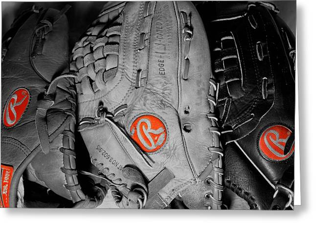 Baseball Gloves Photographs Greeting Cards - Rawlings In Red Greeting Card by Jame Hayes