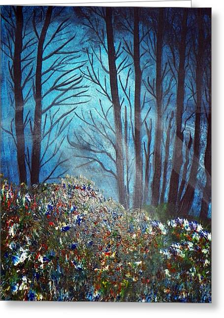 Joseph Frank Baraba Greeting Cards - Lighting The Trees And Flowers In The Woods Greeting Card by Joseph Frank Baraba