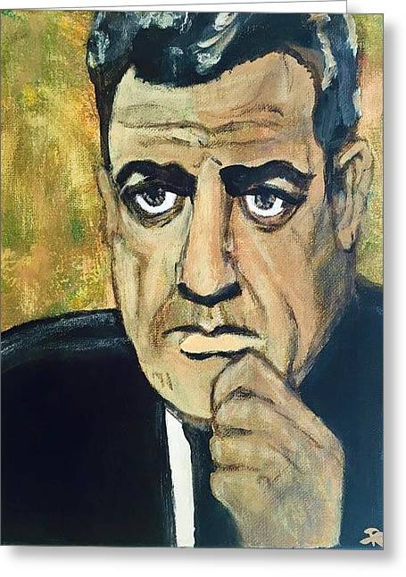Lessons Greeting Cards - Raymond Burr as Perry Mason Greeting Card by Rachel Trapp