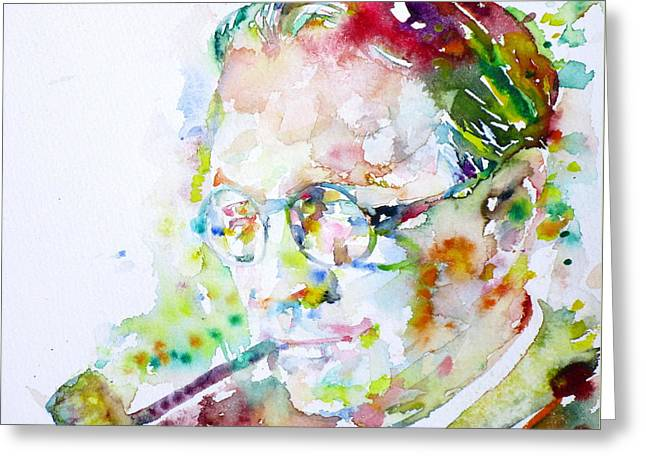 Chandler Greeting Cards - RAYMOND CHANDLER - watercolor portrait Greeting Card by Fabrizio Cassetta