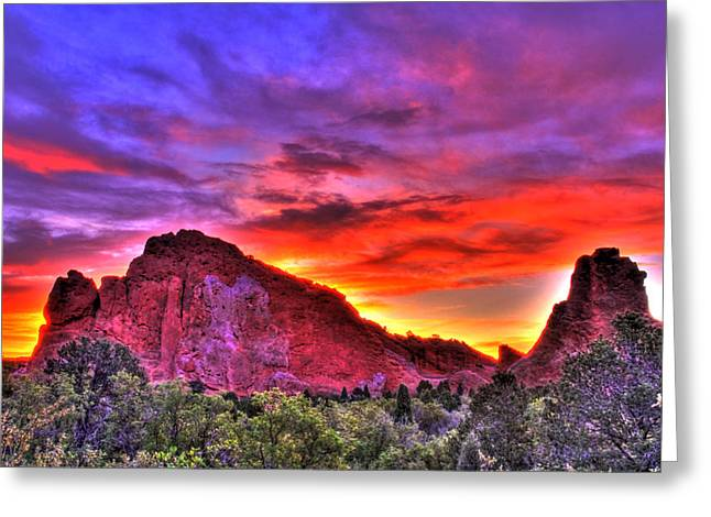 Manitou Springs Greeting Cards - Rays of the Gods Greeting Card by Scott Mahon