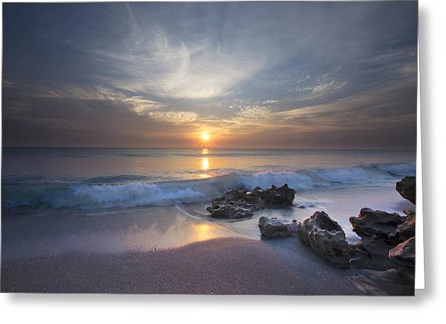 Sanddunes Greeting Cards - Rays on the Waves Greeting Card by Debra and Dave Vanderlaan