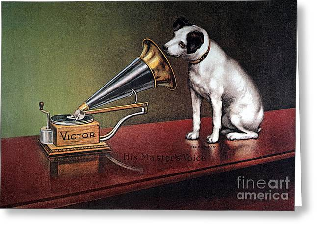 Dogs Photographs Greeting Cards - Rca Victor Trademark Greeting Card by Granger