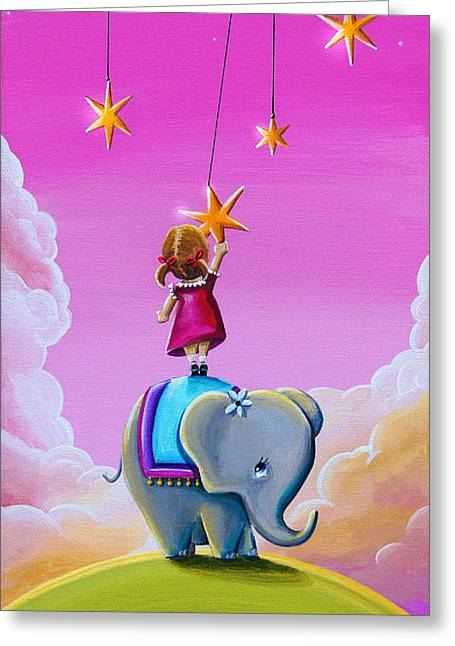 Girl And Animals Greeting Cards - Reach For The Stars Greeting Card by Cindy Thornton