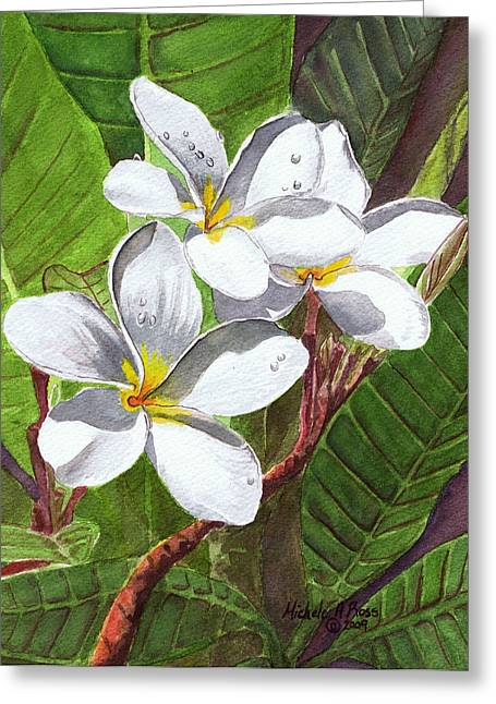 Malia Greeting Cards - REACH FOR THE SUN White Frangipani Greeting Card by Michele Ross