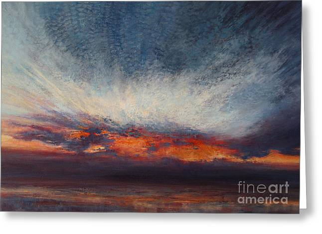 Sunset Seascape Tapestries - Textiles Greeting Cards - Reaching for Heaven Greeting Card by Valerie Travers
