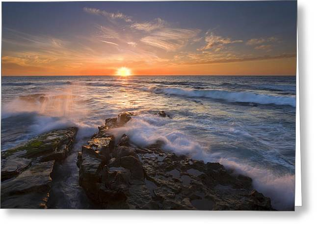 Sunset Seascape Greeting Cards - Reaching for the Sun Greeting Card by Mike  Dawson