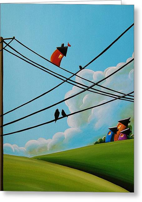 Telephone Wires Greeting Cards - Reaching New Heights Greeting Card by Cindy Thornton