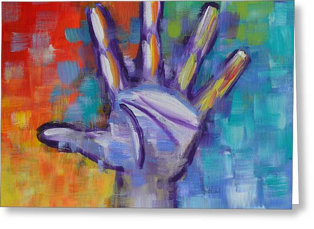 Chakra Rainbow Greeting Cards - Reaching Out Greeting Card by Agata Lindquist