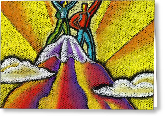 Reaching The Mountain Top  Greeting Card by Leon Zernitsky